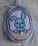 Blue Bunny Egg with 1 heart charm included Handblessings