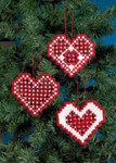 014617 Permin Kit Heart Hardanger Ornaments Red (3 designs)