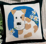 929180 Permin Dog w/flowers Pillow