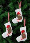 214237 Permin Hedgehog  Stocking Ornaments  (3 Designs)