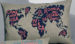 834338 Permin World Map   Pillow