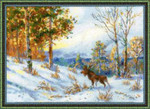 RL1528 Riolis Cross Stitch Kit Elk in a Winter Forest  After V.L. Muravyov's Painting