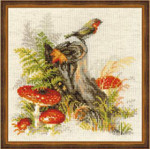 RL1545 Riolis Cross Stitch Kit Stump with Fly Agarick
