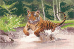 "HCK1009 Heritage Crafts Kit Tiger by John Clayton - Power & Grace 8.75"" x 12.75""; Evenweave; 27ct"