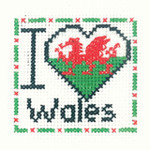 "HCK1017A Heritage Crafts Kit I Love Wales - Mini Kit 2.5"" x 2.5"" ; Aida; 14ct"