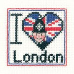 "HCK1018A Heritage Crafts Kit I Love London - Mini Kit 2.5"" x 2.5"" ; Aida; 14ct"