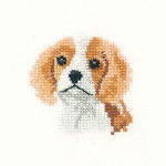 "HCK1028 Heritage Crafts Kit Spaniel Puppy by Valerie Pfeiffer 2.75"" x 2.75""; Evenweave; 28ct"