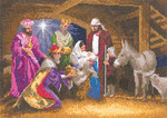"HCK1285A Heritage Crafts Kit Nativity - The John Clayton Collection 12 1/4 "" x 8 3/4""; White Aida; 14ct"