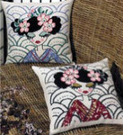 833820 Permin Blue Geisha Pillow  (top)