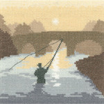 "HCK1231A Heritage Crafts Kit The Angler Silhouettes by Phil Smith 14ct Aida 5"" x 5"""