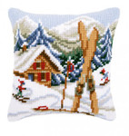 PNV21868 Vervaco Cross Stitch Kit Snow Fun Cushion Sking