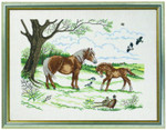 77126740 Eva Rosenstand Cross Stitch Kit Horses with Foal