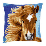 PNV149463 Vervaco Cross Stitch Kit Brown Horse Pillow