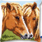 PNV150680 Vervaco Cross Stitch Kit Horses Cushion