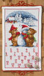 345224 Permin Cross Stitch Kit Teddy & Snowman Advent Calendar