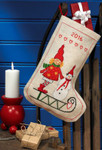 415201 Permin Cross Stitch Kit Elf & Snowman Stocking