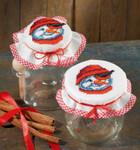 495238 Permin Cross Stitch Kit Snowman Jam Lid