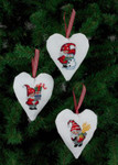 214236 Permin Santa Heart Ornaments  (3 Designs)