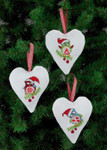 214238 Permin Santa Owl Heart Ornaments  (3 Designs)
