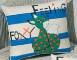 834325 Permin Kit Feeling Foxy - Green   Pillow
