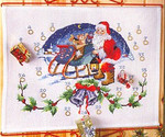 342205 Permin Kit Santa With Sleigh Advent Calender