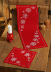 104621 Permin Snowflakes  Table Topper (front)