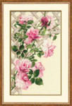 RL898 Riolis Cross Stitch Kit Pink Roses on Lattice