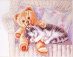 702401 Permin Teddy Bear With Kitten