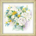RL1070 Riolis Cross Stitch Kit Watercolour Peonies