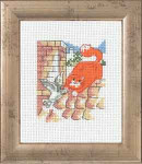147344 Permin Red Cat on roof with bird