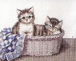 703420 Permin Kit Kittens In A Basket