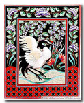 M-194c Japanese Crane Center Panel 26.25 x 32.5 13 Mesh Shorebird Studio