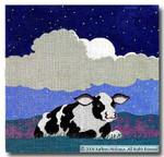 M-221 Night (black & white cow) 14 x 14 13 Mesh Shorebird Studio