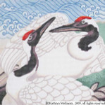 M-519 Japanese Crane Pillow 2 12 x 12 14 Mesh Shorebird Studio