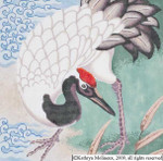 M-518 Japanese Crane Pillow 1 12 x 12 14 Mesh Shorebird Studio