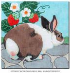m-420 Squares:  Rabbit with Strawberries 9 x 9 14 Mesh Shorebird Studio