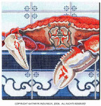 M-419 Squares: Crab on the Counter 9 x 9 14 Mesh Shorebird Studio