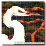 M-409 Squares: Egret 9 x 9 14 Mesh Shorebird Studio