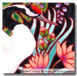 M-405 Squares: Japanese Crane 9 x 9 14 Mesh Shorebird Studio