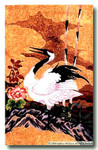 M-303 Japanese Crane & Peonies (Center Panel) 23.25 x  36 13 Mesh Shorebird Studio