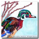 M-403 Squares: Wood Duck 9 x 9 14 Mesh Shorebird Studio