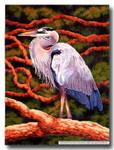 M-364a Heron Scroll (Center) 18.5 x 24.5 13 Mesh Shorebird Studio