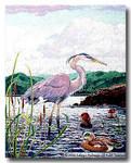 M-313 Great Blue Heron 29.5 x 37.5 13 Mesh Shorebird Studio