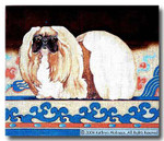 PW-081 Pekinese with Chinese Rug 20 x 17 13 Mesh Shorebird Studion
