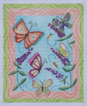 "BB102 Flutterbyes BB Needlepoint Designs 18 Mesh  7"" x 9"""