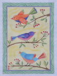 "BB103 Song Birds 18 BB Needlepoint Designs 18 Mesh  7"" x 9"""