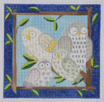 "BB104 Owls 18 BB Needlepoint Designs 18 Mesh  9"" square"