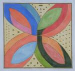 "BB86 Flower Geometric BB Needlepoint Designs 18 Mesh  9"" square"