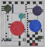 BB39 FLW - Black, White & Red Circle BB Needlepoint Designs 18 Mesh  10x10