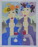 "BB80 Ladies on the Town 11""x 13""  BB Needlepoint Designs 18 Mesh"